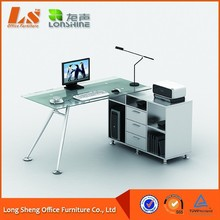 Hot sell office furniture glass computer desk with cabinets