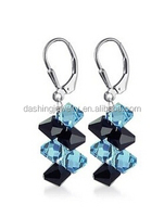 Beauty 929 sterling silver jewellery Black and Blue Crystal Dangle crystal avenue earrings
