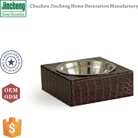 Decorative square brown croco leather pet bowl, dog bowl, dog bowl stainless steel