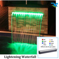 Acrylic LED strip waterfall for swimming pool or pond decoration