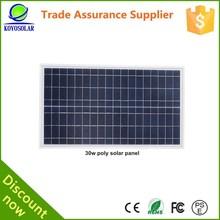 manufacturer high efficiency polycrystalline 30watt solar panel