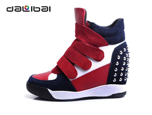 Totally increasing 8cm high heel elevator suede fashion high cut women sneakers