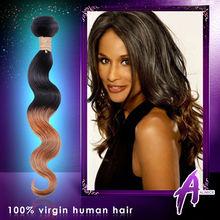 Unprocessed 5A Grade virgin human hair, Two tone Ombre color Brazilian human hair extension