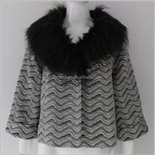 Pretty steps 20015 brand name wave pattern black fur collar winter poncho jacket for women