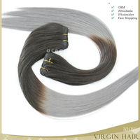 brazilian human remy hair two tone color ombre two tone colored hair weaving gray remy hair extensions