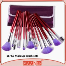 MAANGE 16 piece purple pu bag make up brush set for face with wood handle