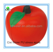 6.8cm bulk polyurethane PU foam stress apple/custom printed PU stress apple/stress ball type PU toy apple style