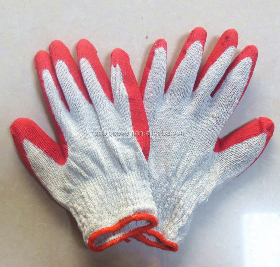 Moins cher T / C chemise rouge Latex revêtu des gants gros gants de travail