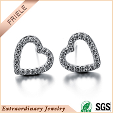 Rhodium Plated Simple empty heart earring stud for best friend 925 sterling silver jewelry accessory.