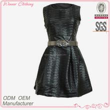 high fashion waistbelt slim fit one piece black dress
