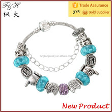 Mother Day Gift Lucky and Hope Women Charm Bracelet with Light Blue Beads