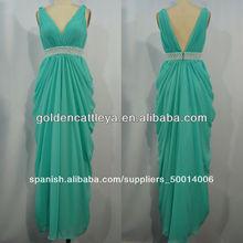 cw1054 elegante cuello v cuentas vestidos de noche diseños