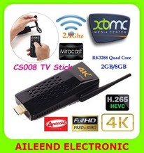 CS008 with Remote Control 2GB/8GB Bluetooth/RJ45 Port 4K Android TV Dongle, Quad Core RK3288 Android TV Stick