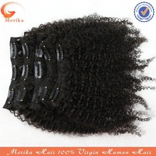 Wholesale best quality malaysian virgin hair clip in curly hair extension