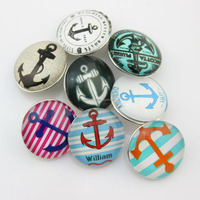 Anchor charms 18mm glass snap button jewelry snap on jewelry