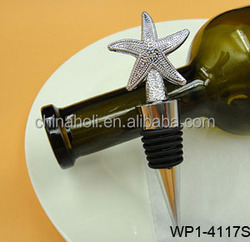 Metal bottle stopper heart shape/wooden top/snow flake/star/valentine's day /zinc alloy wine decoration