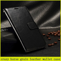 good quality crazy horse grain leather wallet case for samsung galaxy s6