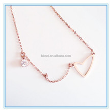 Simple Life Design Rose Gold Irregular Shaped HEART Pendant Tiny Diamond Charm