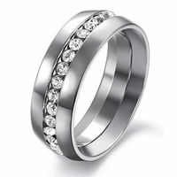Unique Stainless Steel CZ Inlay Men Ring
