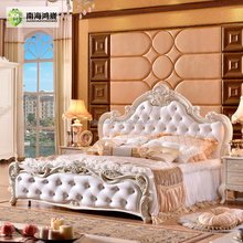 Modern Luxury Royal French Baroque Rococo Style King Queen Size Cream White Buttoned Diamond Leather Headboard Upholstered Bed