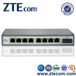 ZTEcom Cost Effective OEM 8 port 10/100M POE Switch + 1 SC Fiber Uplink