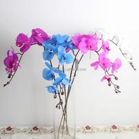 High quality Decorative Silk Single Stem Artificial blue 9 head Orchid