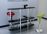 Modern Glass Bar Table ,Wine Glass Shelf