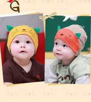 13163 Top Sale 2014 Autumn Winter Boys And Girls Knit Hat Cute Cat Pattern Cat Ears Contrast Color Hat
