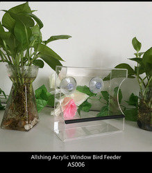 Wholesale AS006 acrylic plastic bird feeder for the transparent bird feeder large window bird feeders