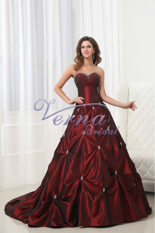 Nna1004 aliexpress strapless beautiful red wedding dresses for Red and black wedding dresses for sale