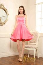 Para mujer de moda simple rosa alta calidad satén rodilla longitud de cóctel vestido para la muchacha opacidad vestido de noche