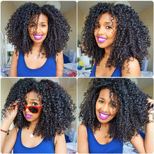 High quality natural black heat resistant afro kinky curly glueles synthetic lace front wig 12-26 inch curl curly synthetic wig