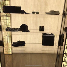 Clear clothing display rack showcase, shoe hat and bag display cabinet