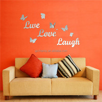 New Arrvial!!! DIY Mirror Butterfly Live Love Laugh Wall Sticker Home Decor Art Decal Acrylic Lowest Price