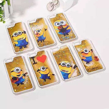 New 3D Transparent liquid quicksand Despicable Me Yellow Minion Cover phone Case for iphone 6 iphone6 Plus