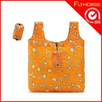 190D/210T folding polyester carry tote shopping bag with logo