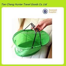hot popular green nylon shopping bags,new style cloth storage bag,high capacity shopping basket