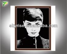 la moda de audrey hepburn retrato digital de bricolaje pintura al óleo por número de arte de la pared de imagen
