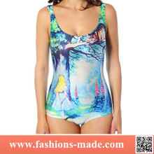 2015 3D Digital Cheshire Cat Spring Printed Swimwear