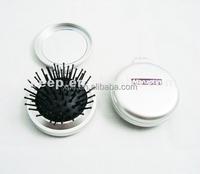 Gift brush plastic mirror folding gift comb brush mirror with brush cheap for make up pocket mirror blanks
