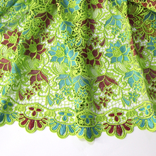 Bulk high quality green china flower pattern african multi coloured guipure embroidery lace for nigerian