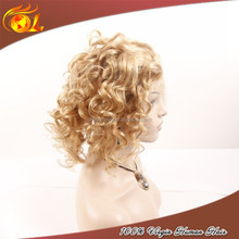 Hand-tied Lace Front Cheap Real 100% Human Hair Short Blonde Wigs