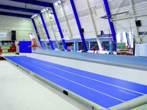 Blue And White Tumble Track Inflatable Air Mat For