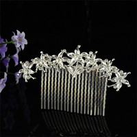 Wholesale Silver & golden hair ornament delicated crystal rhinestone accessory rhinestone bridal alloy fancy hair combs