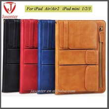 2015 multi-purpose card slots Wholesale For apple ipad air tablet ,leather case For apple ipad air, For ipad air leather cover