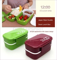 2015 new design multi-functional double deck microwave tiffin box carrier