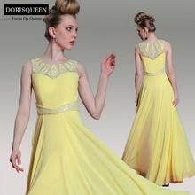 DORISQUEEN MOQ 1pc Dropship new arrivals 2014 long sexy elegant summer yellow quinceanera dresses