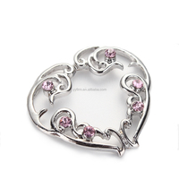 DDQ15763 Non-Piercing Clip On Heart Silver Nipple Rings Shields With Pink Crystals