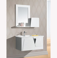 Wooden ivory color cheap price modern bathroom cabinet