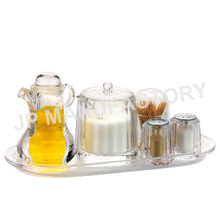 5pcs acrylic condiment jar/salt and pepper shaker with toothpick holder